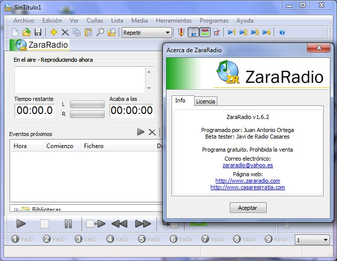 Configuración Zara Radio para su streaming audio